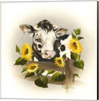 Framed Cow & Sunflowers