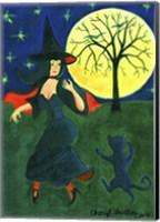 Framed Halloween Witch Black Cat Moon Dance
