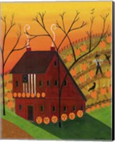 Framed Sunset Pumpkin Saltbox