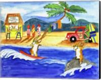 Framed Corgi Surfers Club
