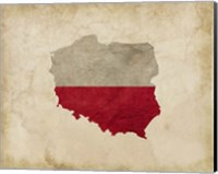 Framed Map with Flag Overlay Poland