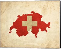 Framed Map with Flag Overlay Switzerland