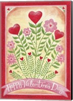 Framed Valentines Day Happy Flowers