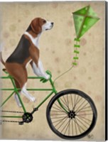Framed Beagle on Bicycle