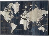 Framed Old World Map Blue Crop