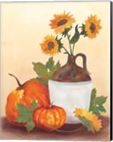 Framed Watercolor Harvest Sunflower I