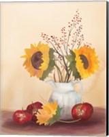 Framed Watercolor Harvest Sunflower II