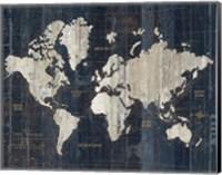 Framed Old World Map Blue v2