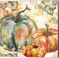 Framed Watercolor Harvest Teal and Orange Pumpkins I