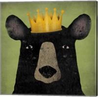 Framed Black Bear with Crown