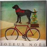 Framed Black Lab on Bike Christmas