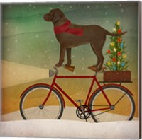 Framed Brown Lab on Bike Christmas