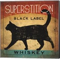 Framed Superstition Black Label Whiskey Cat