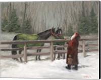Framed Santa with Horses