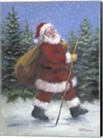 Framed Walking Santa