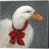 Framed Goose Red Xmas Bow