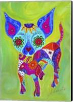 Framed Talavera Happy Chihuahua