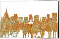 Framed Orlando Florida Skyline - Rust