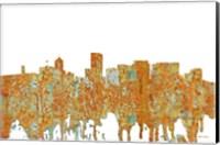 Framed Portland Oregon Skyline - Rust