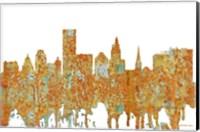 Framed Providence Rhode Island Skyline - Rust