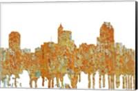 Framed Raleigh North Carolina Skyline - Rust