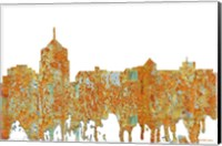 Framed Roanoke Virginia Skyline - Rust