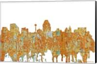 Framed San Antonio Texas Skyline - Rust