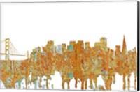 Framed San Francisco California Skyline - Rust
