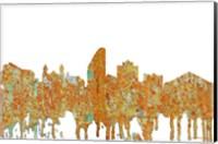 Framed San Jose California Skyline - Rust