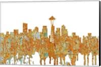 Framed Seattle Washington Skyline - Rust