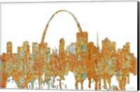Framed St Louis Missouri Skyline - Rust