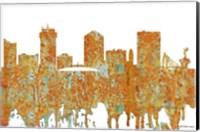Framed Wichita Kansas  Skyline 2 - Rust