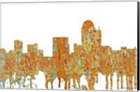 Framed Winston-Salem North Carolina Skyline - Rust