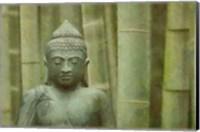 Framed Bronze Buddha With Bamboo