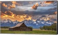 Framed Moulton Barn Sunset Fire
