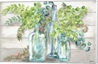 Framed Vintage Bottles and Ferns Landscape