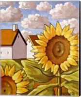 Framed Sunflower & Cottages Scenic View
