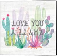 Framed Lovely Llamas Cactus Love