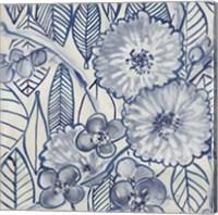 Framed Indigo Leaves And Florals 1