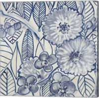 Framed Indigo Leaves And Florals 1