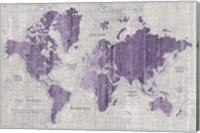 Framed Old World Map Purple Gray