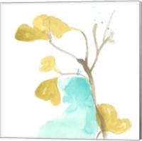 Framed Teal and Ochre Ginko IX