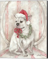Framed French Bulldog Santa