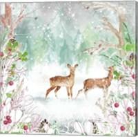 Framed Two Deer Woods