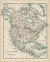 Framed Map of North America