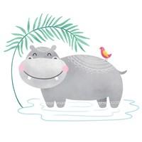 Framed Playful Pals- Hippo