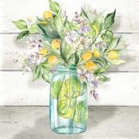 Framed Watercolor Lemons in Mason Jar on shiplap
