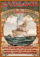 Framed Italian Steamship Travel Ad 1893