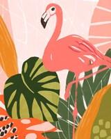 Framed Jungle Flamingo I