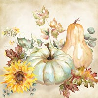 Framed Watercolor Harvest Pumpkin II